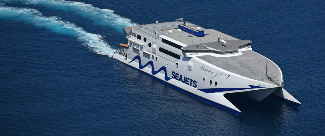 Champion Jet 1 ferry will get you from Santorini to Mykonos in 2 hours