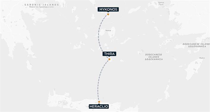 Heraklion-Thira-Mykonos map