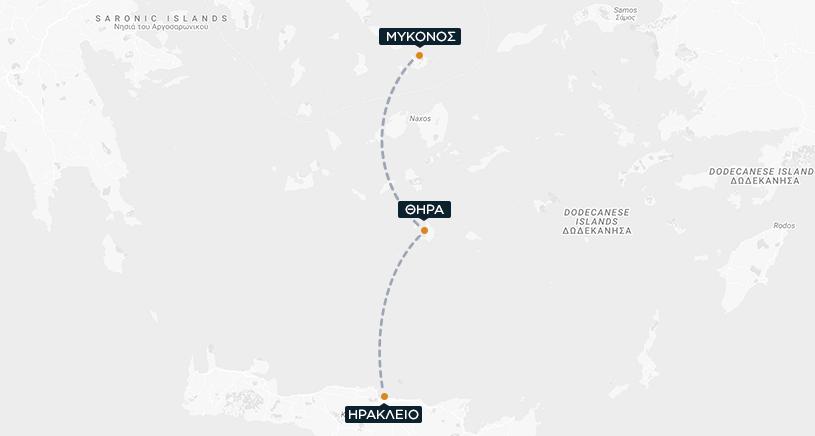 Ηράκλειο-Θήρα-Μύκονος Χάρτης