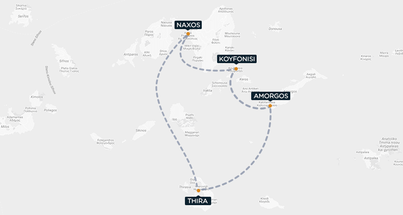Koufonisi-Amorgos-Thira-Naxo Map