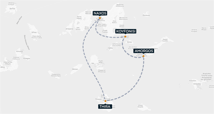 Koufonisi-Amorgos-Thira-Naxo Map