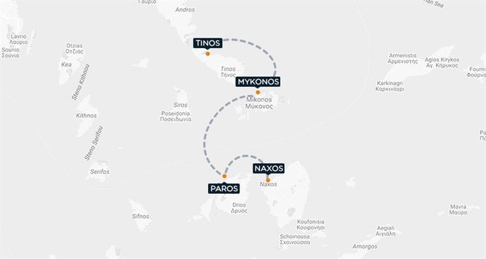Tinos-Mykonos-Paros-Naxos Map