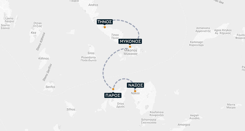 Τήνος-Μύκονος-Πάρος-Νάξος Χάρτης